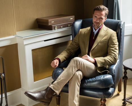 A HUME Limited Edition Melkington Tweed Jacket Jak Lowdon location photography