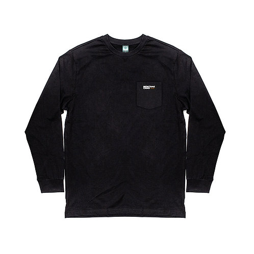 Camiseta negra de manga larga con logo etiqueta Montana-Cans