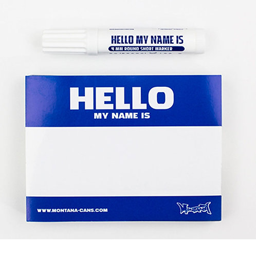 """Sticker """"Hello my name is"""" plus marqueur Montana Cans"""