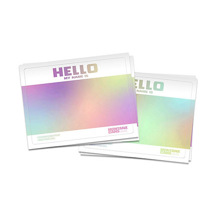 """Stickers """"Hello my name is"""" Hologramme Montana Cans"""