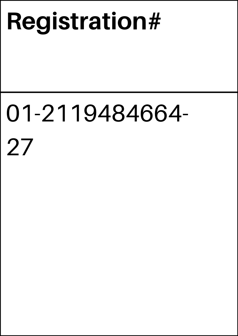 REACH registration number