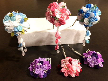 6月のつまみ細工教室は紫陽花が沢山できました!