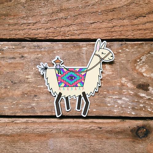 lil man on an alpaca sticker