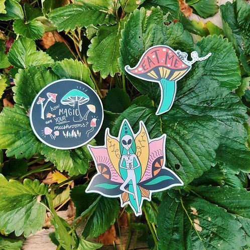trio mushroom alien stickers