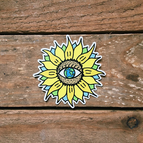 earth sunflower sticker