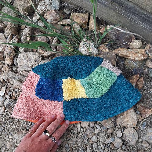 wild patchwork fluffy/canvas bucket hat
