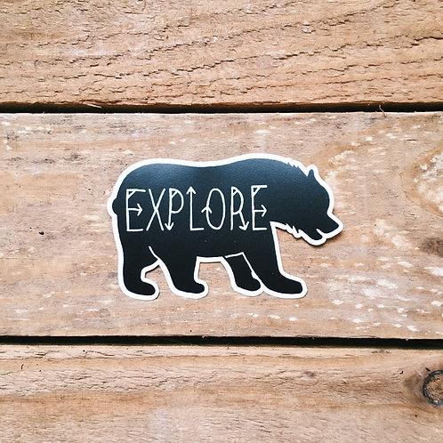 explore bear sticker
