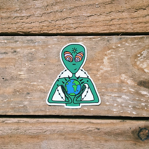 globe alien sticker