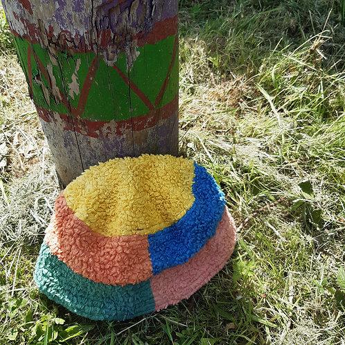 rainbow patchwork fluffy/canvas bucket hat