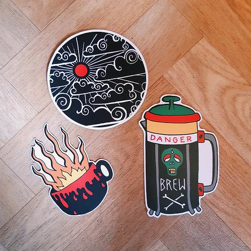 trio world of coffee stickers