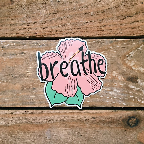 breathe hibiscus sticker