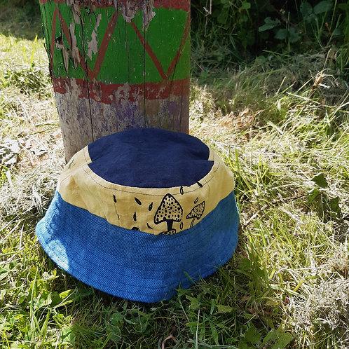 indigo mushrooms hemp/linen bucket hat