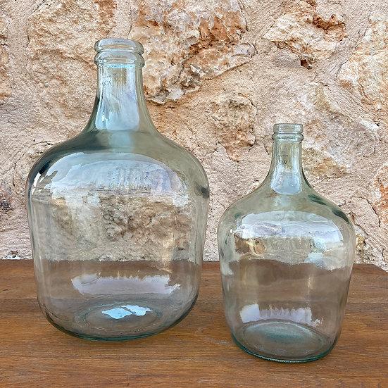 2er Set, Glasballon, Gärballon, Bodenvase aus recyceltem Glas