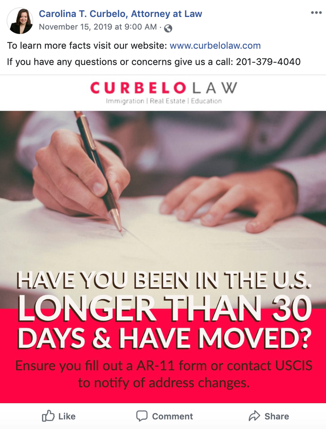 New Social Media Campaign for Curbelo Law