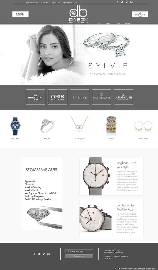 New Website Design for White Box Jewelry
