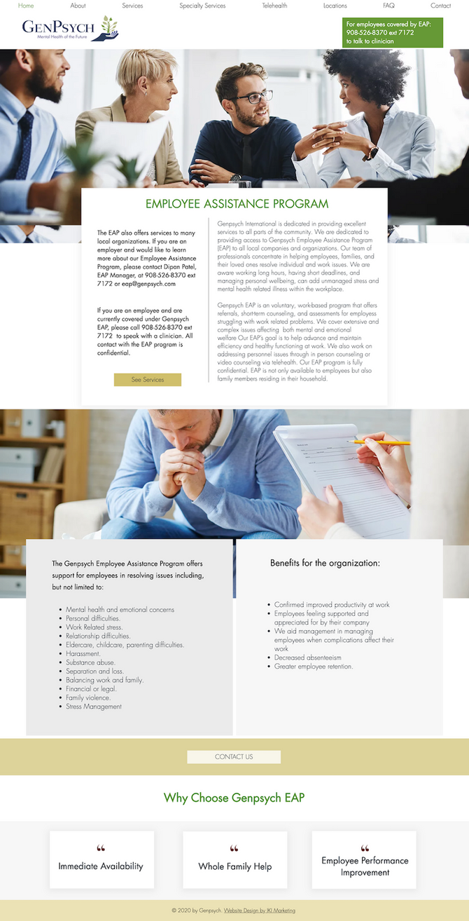 Website design for Employee Assistance Program provider in New Jersey