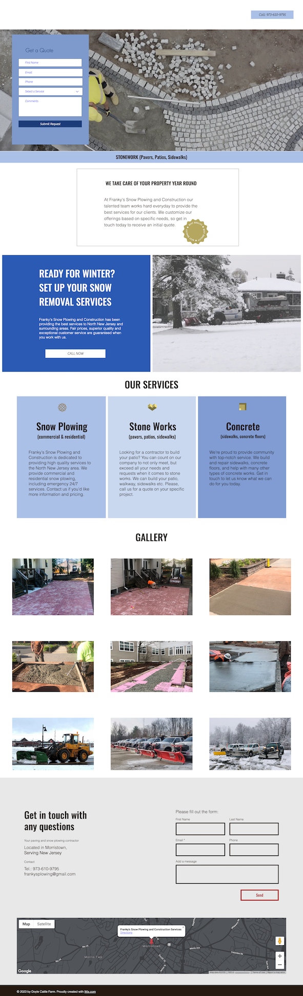 Web Design for Snow Plowing and Construction company in NJ
