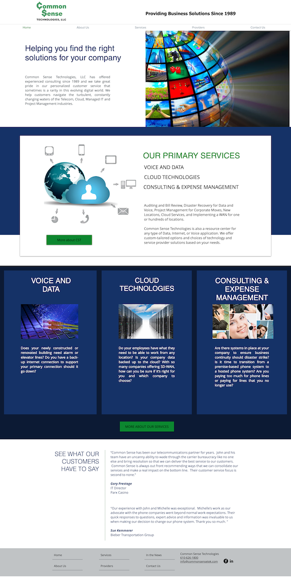 Web design for Common Sense Technologies, LLC