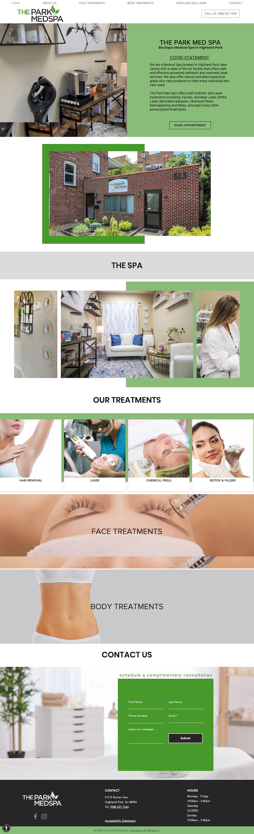 Web design for The Park Med Spa in NJ