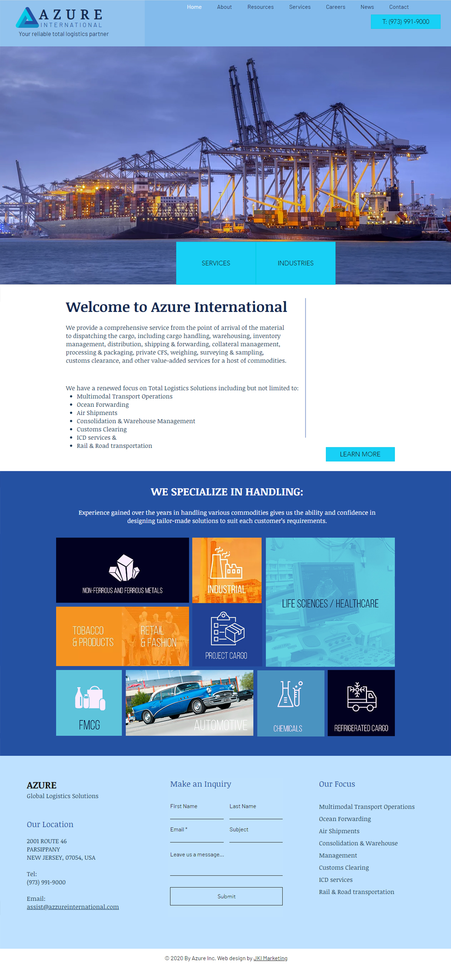 Website Design For AZURE Global Logistics Solutions