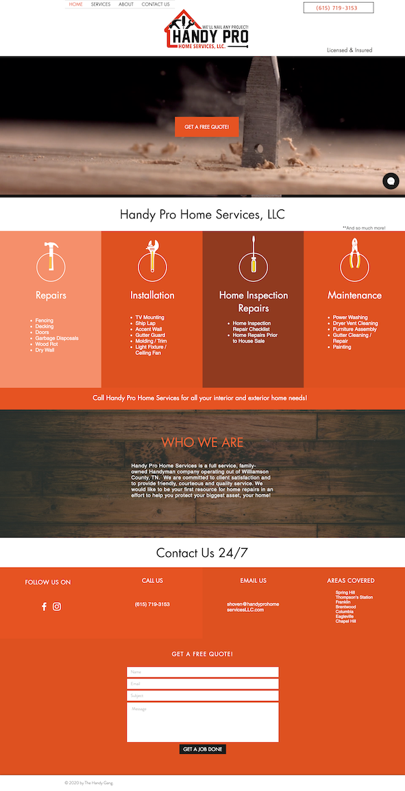Web design for Handy Pro Home Services, LLC in Tennessee
