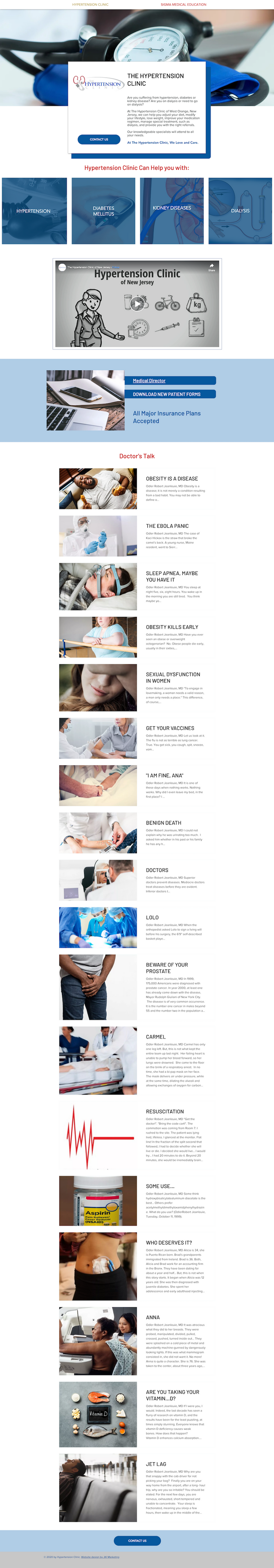 Website design for The Hypertension Clinic in New Jersey