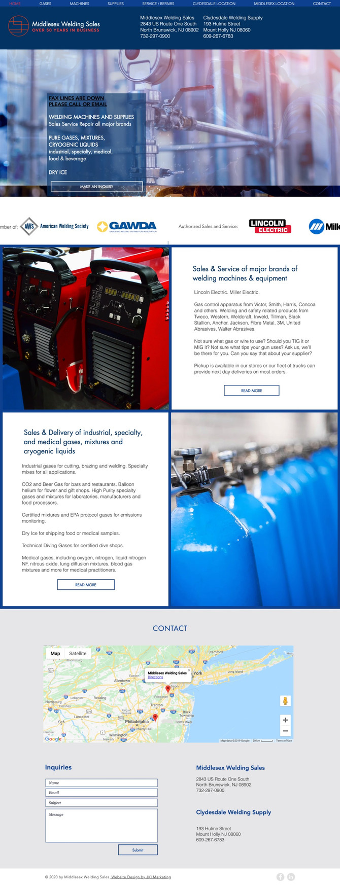 New Website Design for Middlesex Welding Sales