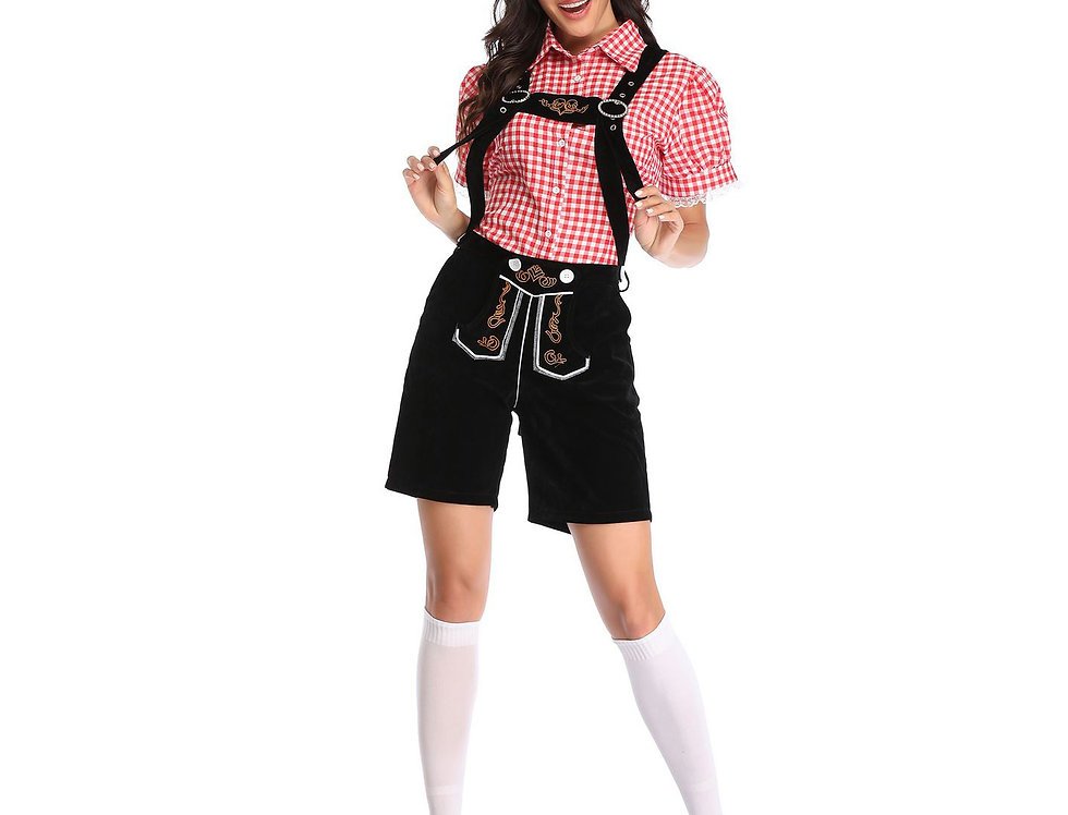 Plaid Oktoberfest Costume For Women - Black Lederhosen