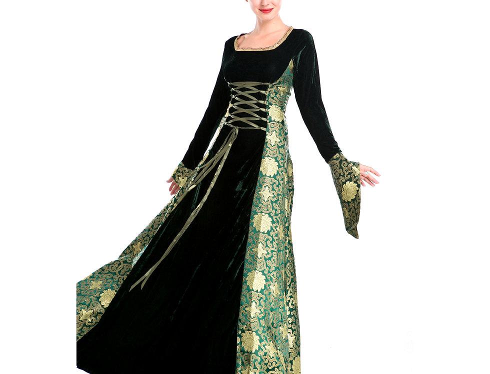 Emerald Green Damask Renaissance Lady Costume For Women