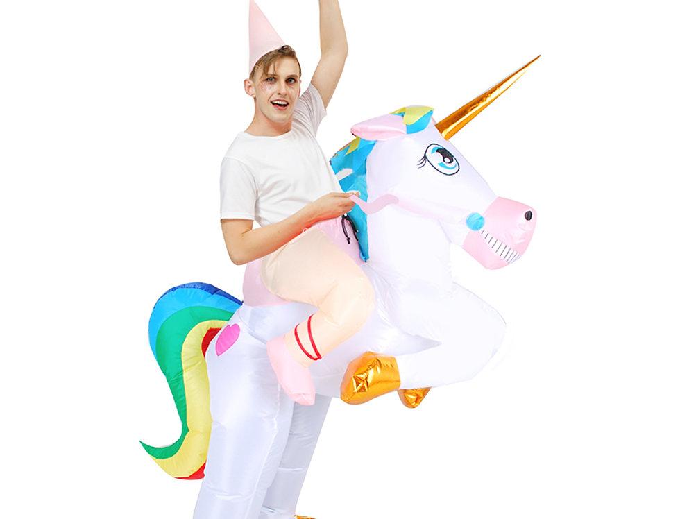 Rainbow Unicorn Adult Inflatable Ride-On Costume