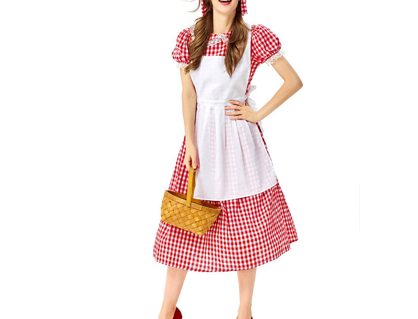 3 in 1 Red & White Grid Pattern Costume For Women