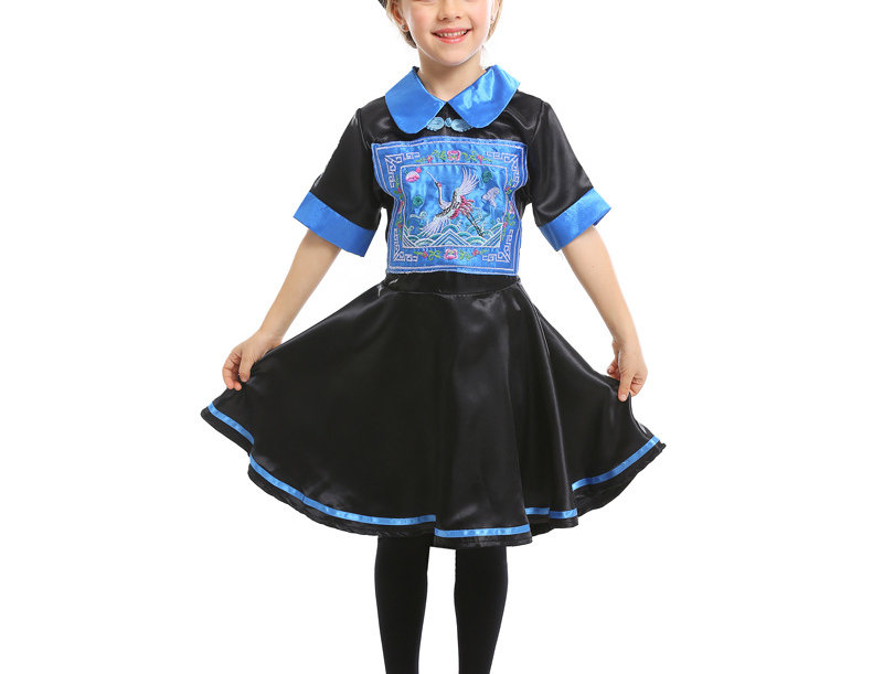 Blue Chinese Hopping Zombie Costume For Girls