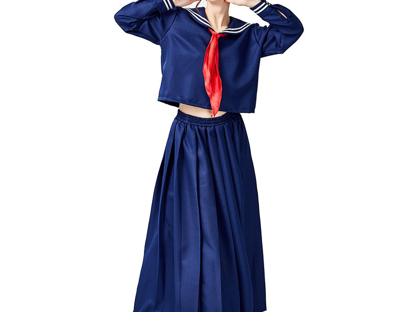 Japanese Sailor High School Uniform Costume For Women - Maxi Skirt Edition