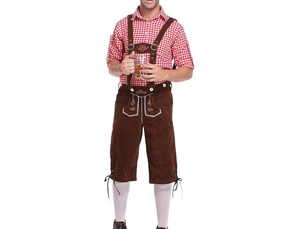 Plaid Oktoberfest Costume For Men - Brown Lederhosen