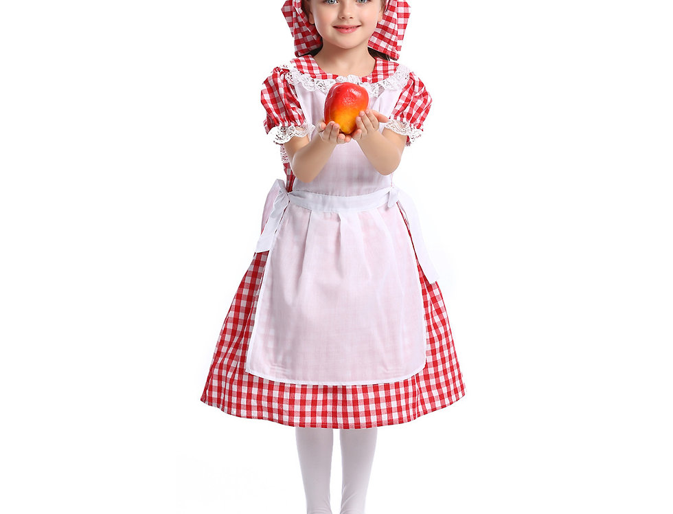 3 in 1 Red & White Grid Pattern Costume For Girls