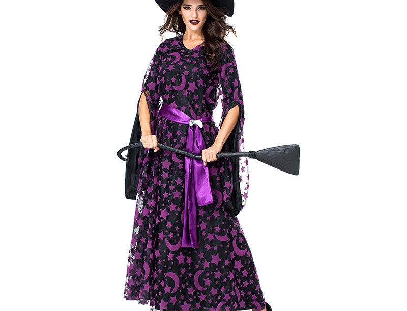 Crescent Moon and Star Witch Costume For Women