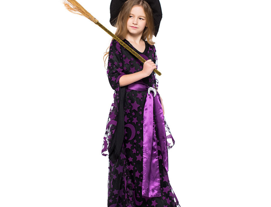 Crescent Moon and Star Witch Costume For Girls