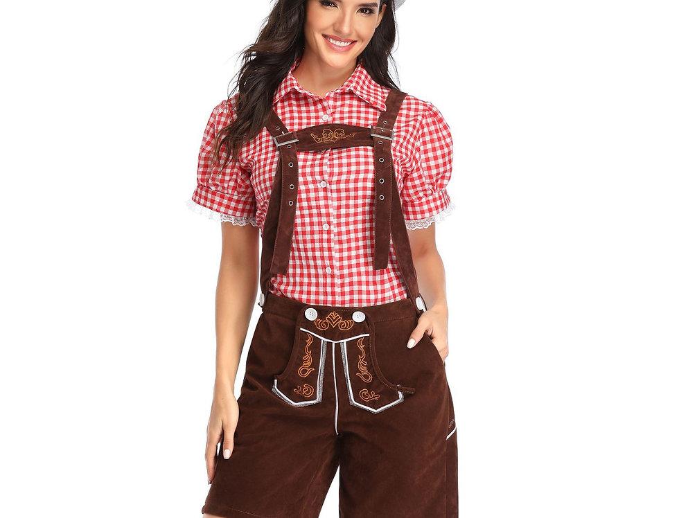 Plaid Oktoberfest Costume For Women - Brown Lederhosen