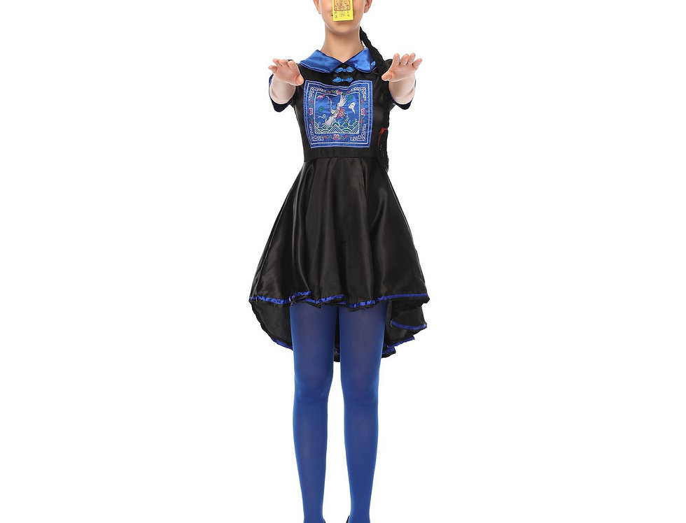 Blue Chinese Hopping Zombie Costume For Women