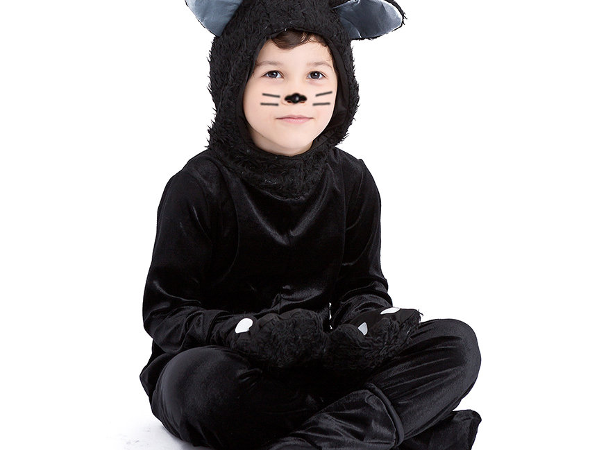Fluffy Black Cat Kids Unisex Costume