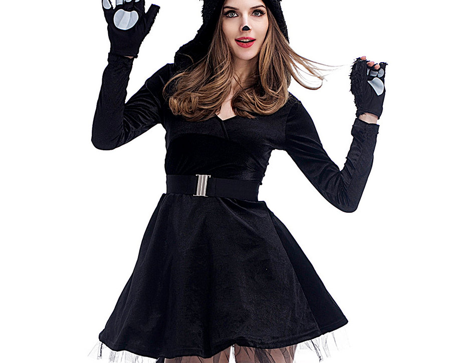 Fluffy Black Cat Costume For Women