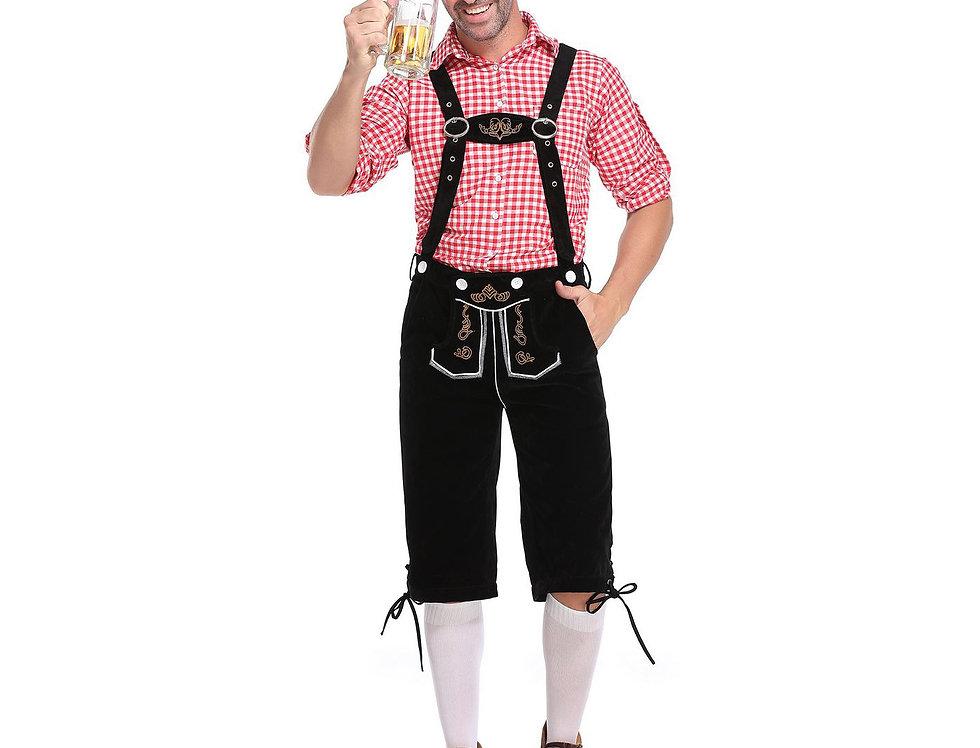 Plaid Oktoberfest Costume For Men - Black Lederhosen