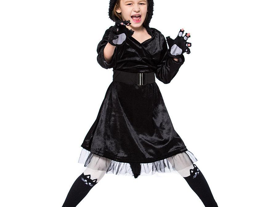 Fluffy Black Cat Costume For Girls