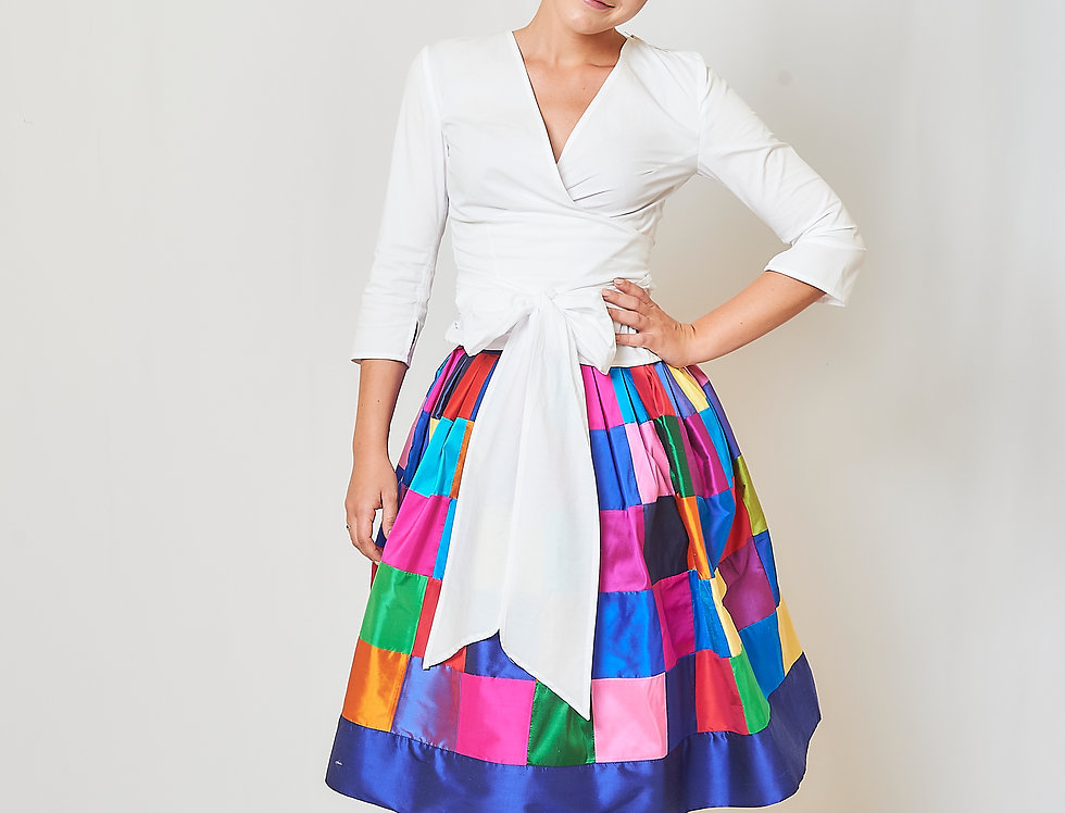 Patchwork pleated skirt in silk