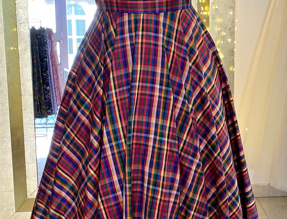 Plaid dress in silk