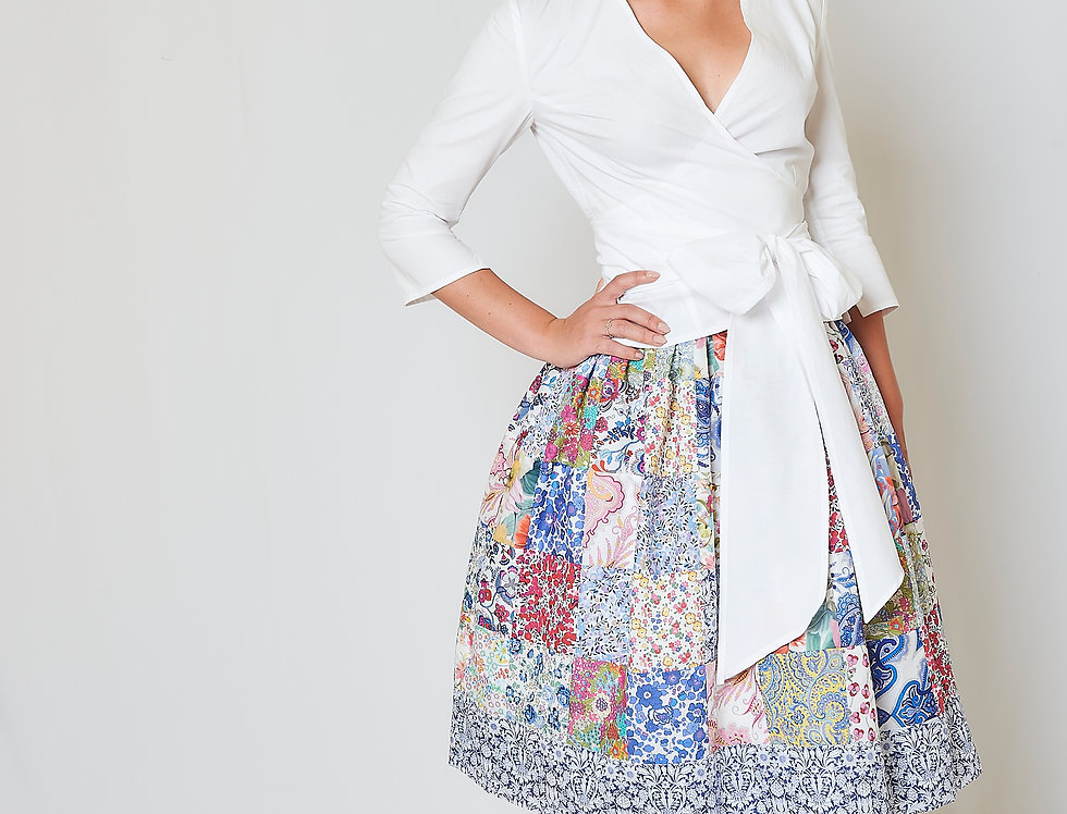 Patchwork pleated skirt in cotton