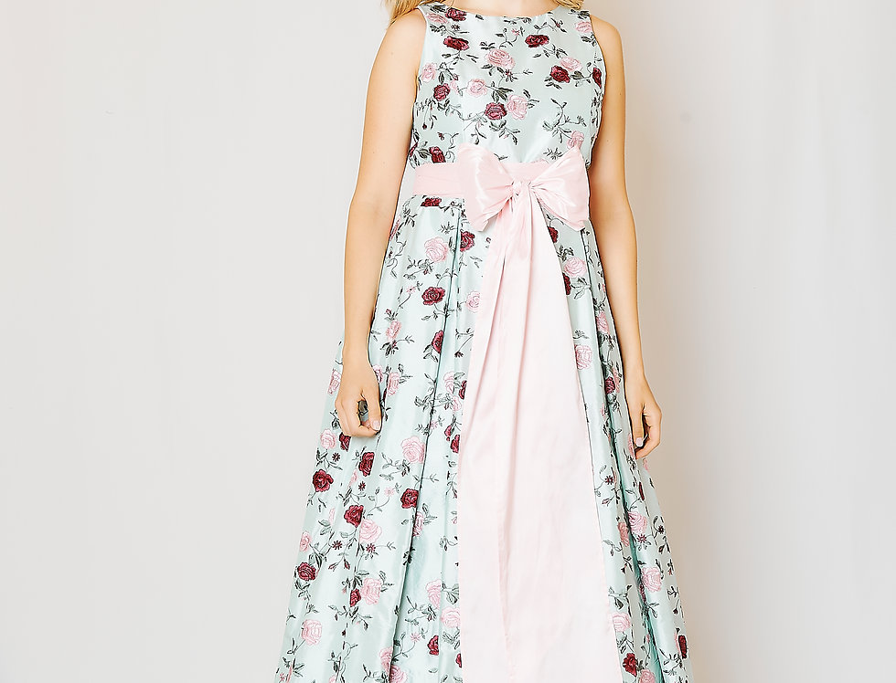 Linda dress in embroidered silk