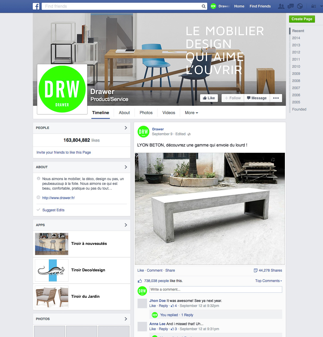DRAWER - Page Facebook