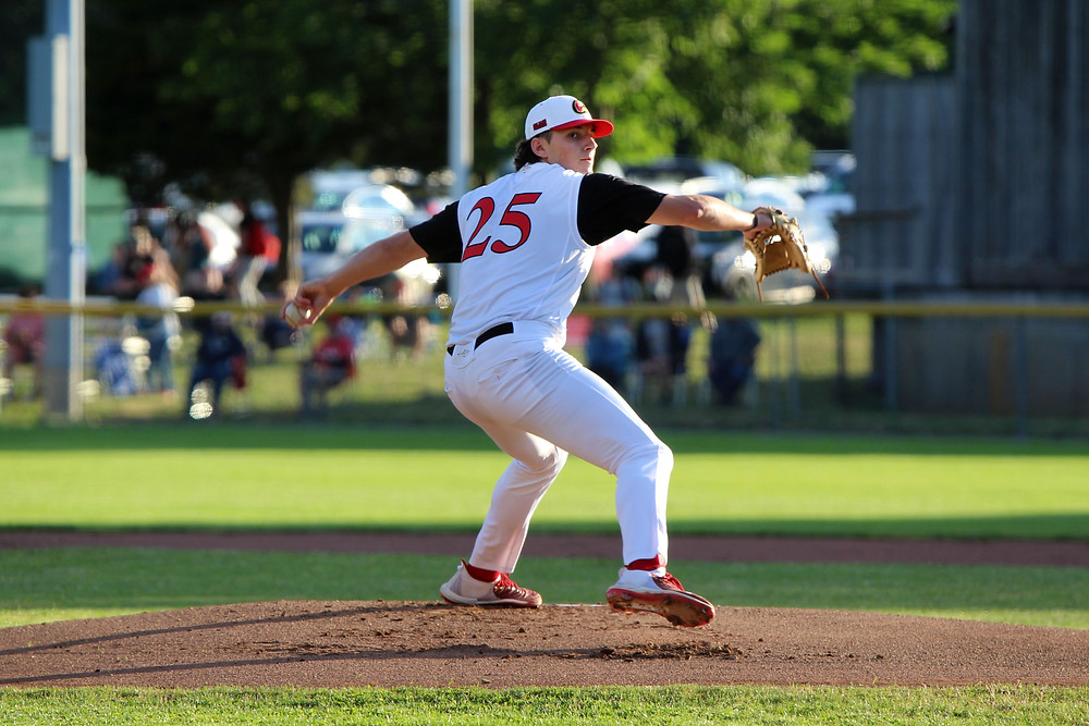 Chase DeLauter pitches at Eldredge Park in Orleans