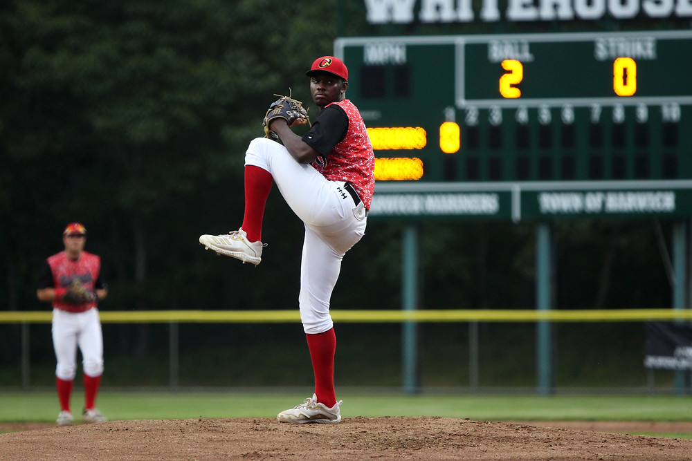 Marquis Grissom Jr. on the mound at Whitehouse Field
